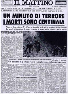 Il terremoto del 23 novembre 1980 - 'O tiempo 'e nu Memorie, Newspaper, History, Poster, Printing Press, Literatura, Culture, Pictures, November