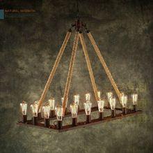 Loft corde de chanvre pendentif lampe industrielle de pays d'amérique créative Antique forgé lampes suspendues de fer lampe suspendue Hanglamp(China (Mainland))