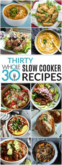 30 Slow Cooker Recipes Tis' the season for soups, stews & slow cooked meals! Here are 30 Slow Cooker Recipes that are hearty, delicious and perfect for Fall & Winter. - 30 Slow Cooker recipes for your and beyond! Whole 30 Crockpot Recipes, Whole30 Dinner Recipes, Slow Cooker Recipes, Paleo Recipes, Whole Food Recipes, Crockpot Meals, Breakfast Crockpot, Dinner Crockpot, Keto Dinner