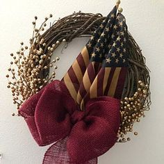 Americana Rustic Star Old Glory Patriotic Wreath with Tea Stained Flag Elegant Fall Wreaths, Autumn Wreaths, Holiday Wreaths, Wreath Fall, Door Wreath, Holiday Crafts, Whimsical Christmas, Elegant Christmas, Etsy App