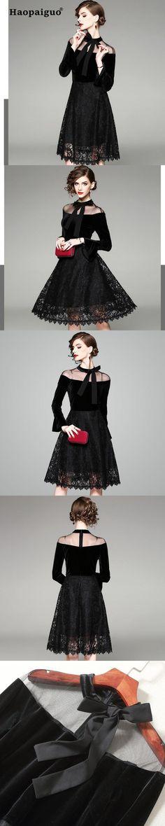 46a0df87061a4 Larger Size Light Luxury Party Dress Women Slim Mesh Patchwork Vintage  Casual Dress Elegant A-Line Ladies Office Black Dress