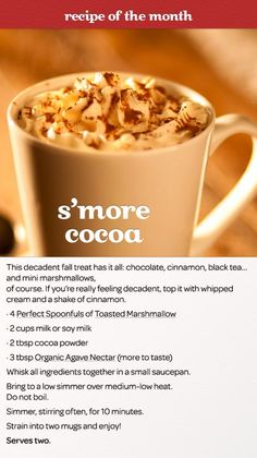 Make it a chocolate date with this recipe: Smore Cocoa: The decadent fall treat that has it all - chocolate, cinnamon, black tea. and of course, mini marshmallows. Davids Tea, Yummy Drinks, Yummy Food, Smoothie Drinks, Smoothies, Tea Latte, Winter Drinks, Cacao, Tea Recipes