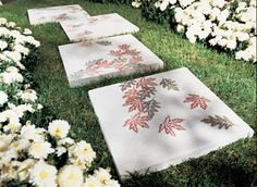 DIY Stepping Stone Walkway Design with Autumn Leaves (Benjamin Moore)