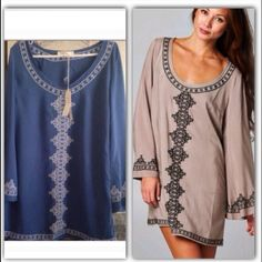 """Blue Azalea Gorgeous bell sleeve embroidered tunic. Cool loose style can be worn alone or Over shorts or leggings. ✴️Please Do Not Buy this Listing✴️ comment on size & I will make a new listing.  Length S-33""""/M-34""""/L-35"""" ✴️Limited Sizes & Quantities✴️ ✅BNWT  No Trades Dresses"""