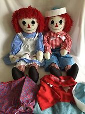 "36"" Raggedy Ann & Andy Dolls 2 Outfits Each Classic Handmade NEW"