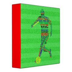 Soccer Player Typography 3 Ring Binder.   To see this design on the full range of products, please visit my store: www.zazzle.com/gamefacegear*/ and click on the 'Soccer Football Designs' category. #soccer #football #MLS #BackToSchool