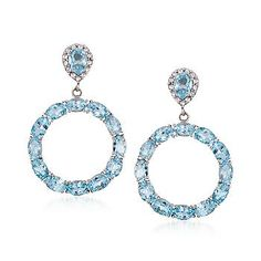 Ross-Simons - 14.60 ct. t.w. Blue Topaz Drop Hoop Earrings With White Topaz in Sterling Silver - #795665