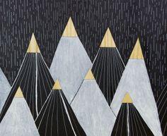 Black & White Mountains - Original Illustration with Real Wood Veneer