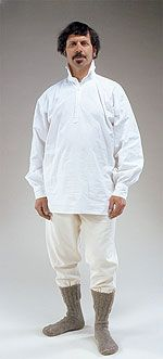 man wearing long-sleeved white cotton shirt, loose off-white cotton pants tucked into calf-high gray woolen socks. for all 3 men.