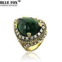 lusso mansion crimson teardrop - a forma di zircone di fidanzamento grande anello volpe blu stile bohemien gioielli vintage 2014 BF-0-4