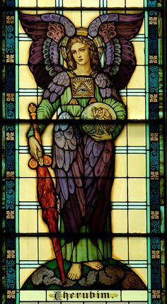 Cherubim: Messengers Of God Bestowing Mercy And Kindness Or Submitting Your Plea To The Celestial Court Of Justice Stained Glass Church, Stained Glass Angel, Stained Glass Paint, Stained Glass Windows, Catholic Art, Religious Art, Mosaic Glass, Glass Art, Sainte Cecile