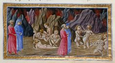 Simon of Troy and Adamo of Brescia - Dante Alighieri TitleDivina Commedia OriginItaly, N. (Tuscany, Siena?) Datebetween 1444 and c. 1450 LanguageItalian    http://www.bl.uk/catalogues/illuminatedmanuscripts/record.asp?MSID=6468&CollID=58&NStart=36