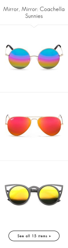 """Mirror, Mirror: Coachella Sunnies"" by polyvore-editorial ❤ liked on Polyvore featuring mirrorsunglasses, accessories, eyewear, sunglasses, glasses, round sunglasses, round mirrored sunglasses, retro round sunglasses, pink mirror sunglasses and mirrored sunglasses"