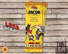 Lego The Movie  Invitation for Birthday Party Ticket Vip Pass Admit One - Digital File on Etsy, $8.00