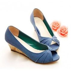 $41.98 Free Shipping Roman Slope Hot Sale Specials Peep Toe Blue Wedge shoes EU35-39