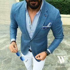 Blue denim jacket & white denim