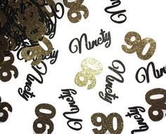 90 confetti, 90th birthday party decorations, ninetieth, 50CT, black and gold party supplies, custom colors, ninety years, anniversary event by PartyParts on Etsy https://www.etsy.com/listing/489069243/90-confetti-90th-birthday-party