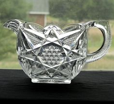 Early American Pressed Glass Patterns | ... EAPG 1897 ILLINOIS Victorian Crystal Square Creamer by U.S. Glass Illinois, Glass Company, Pressed Glass, Early American, Clear Glass, Old Things, Victorian, Antiques, Beautiful Things