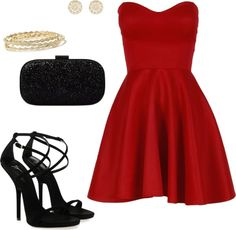A fashion look from december 2012 featuring flared dress, black heeled sand Cute Bridesmaid Dresses, Prom Party Dresses, Cute Fashion, Fashion Beauty, Pretty Outfits, Cute Outfits, Wardrobe Sets, Valentine's Day Outfit, Ball Gown Dresses