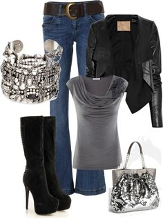 A fashion look from January 2013 featuring H&M blouses, Max Azria jackets and Jane Norman jeans. Browse and shop related looks. Cool Outfits, Casual Outfits, Fashion Outfits, Winter Outfits, Love Fashion, Fashion Looks, Womens Fashion, Look 2018, Touch Of Gray