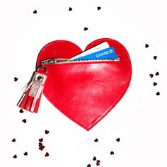 Valentine's Heart Leather Purse // Red Zipper Bag by gmaloudesigns