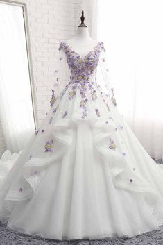 White Tulle Ruffles Long Flower Lace Applique Prom Dress, Quinceanera Dress With Sleeve - White Tulle Ruffles Long Flower Lace Applique Prom Dress, Quinceanera Dress With Sleeve Source by graciaantonogta - Black Wedding Dresses, Cheap Wedding Dress, Bridal Dresses, Formal Dresses, White Quinceanera Dresses, Elegant Dresses, Bridesmaid Dresses, Formal Gowns With Sleeves, Lace Wedding