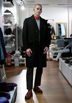 """Stefan """"I've dressed up in skinhead style since At first I bought Vespa, then I found the style. I like skinhead style because it's smart and looks good. Skinhead Boots, Skinhead Fashion, Skinhead Style, Skinhead Men, Adidas Originals Jeans, Crombie Coat, Urban Fashion, Mens Fashion, Skin Head"""
