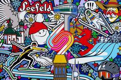 Oxana Prantl - «Seefeld - acrylic paint on canvas, cm. Acrylic Painting Canvas, Comic Books, Comics, Cover, Pop Art, Comic Book, Blankets, Comic, Comic Strips
