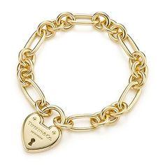 Tiffany Locks heart lock bracelet in 18k gold, medium.