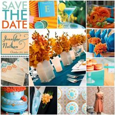 Tangerine and Teal Wedding  http://the6chicks.com/2011/03/01/inspiration-board-teal-and-tangerine/