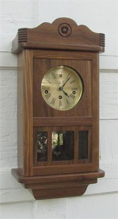 Sternreiter Jugend Spring-wound Mechanical Wall Clock.  Solid Walnut case made in the U.S.A. German-made mechanism.  Assembled in the U.S.A.