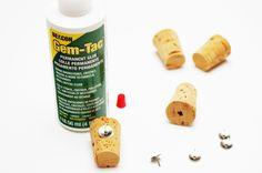 DIY cork push pins - Crafts Unleashed   Super glue works, cute. :)