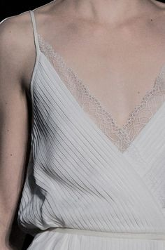 Pascal Millet s/s 2014. gorgeous detailing. Intricate lace edging on simple white slip dress