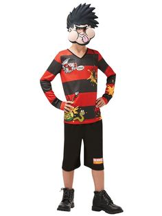 Red /& Black Striped Fancy Dress Costume Set Naughty School Boy Menace Stag Party