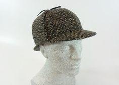 Sherlock Holmes Mütze-Tweed-schwarz-braun-beige