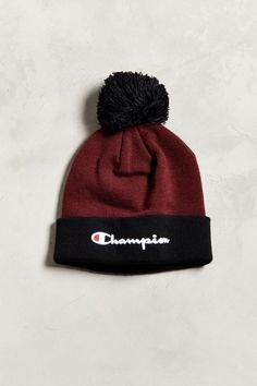 Branded beanie from Champion. Soft, knit colorblocked standup beanie featuring a rib knit cuff and pompom topper, complete with embroidered logo at cuff. Rib Knit, Urban Outfitters, Champion, Beanie, Logo, Knitting, Script, Cotton, Gifts