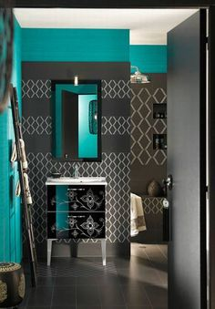 Dark grey and teal.. beautiful & different for a bathroom..