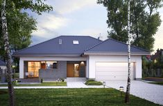 Wizualizacja ED E-135 CE Simple House Plans, Home On The Range, Design Case, Lucca, Garage Doors, Shed, Outdoor Structures, How To Plan, Outdoor Decor