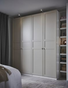 Ikea Wardrobe Hack, Bedroom Built In Wardrobe, Pax Wardrobe, Ikea Pax Hack, Built In Wardrobe Ideas Layout, Built In Bedroom Cabinets, Wall Wardrobe Design, Double Wardrobe, Ikea Closet