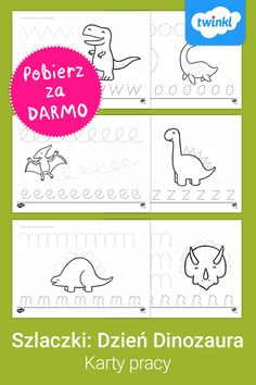 Karty pracy z ćwiczeniami z grafomotoryki, idealne na Dzień Dinozaura! Kliknij, by pobrać i odkryć tysiące materiałów dydaktycznych do wydruku. #dzieńdinozaura #dziendinozaura #dzieńdinozauraprzedszkole #dziendinozauraprzedszkole #dinozaury #dinozaur #kolorowanki #szablony #grafomoryka #kartypracy #edukacjadomowadinozaury #szlaczkikartypracy #szlaczkiprzedszkole #szlaczkidowydruku #twinklpolska #darmowemateriałydydaktyczne #dowydruku Bullet Journal, Words, Free, Horse