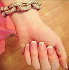 Michael kors twist bracelet with classy French nails