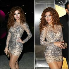 Sexy Silver Beaded Myriam Fares Long Sleeve Custome Hot Sparkly Short Celebrity Dress Free ship