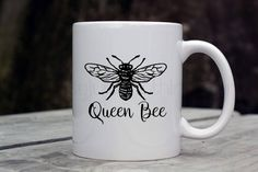 Queen Bee Coffee Cup, Queen Bee Mug, Mom Life Coffee Mug, Mom Boss Coffee Mug, Honey Bee Coffee Mug, Bee Coffee Cup, Insect Coffee Mug by GypsyJunkClothing on Etsy