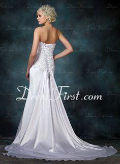 Sheath/Column Sweetheart Watteau Train Charmeuse Wedding Dress With Lace Beadwork (002000157)