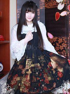 甘い黒シフォン プリントかわいいロリータ ジャンパー スカート - Milanoo.jp