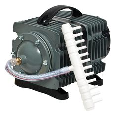 Commercial Pump's powerful electromagnetic motor pushes 1744 gph to provide reliable output for air diffusion devices. It features high-quality aluminum alloy housing and a wear-resistant cylinder and piston. Aquarium Air Pump, Aquarium Filter, Aquarium Fish Tank, Fish Tanks, Water Purification Process, Water Purification Tablets, Water Coolers, Water Filtration System, Hydroponics System