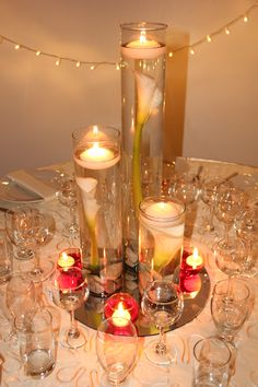 Centro de mesa con cartuchos y velas centros mesa - Centros de mesa con velas ...