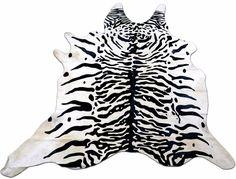 Tiger Print Cowhide Rug Size: 8' X 6.7' HUGE Siberian Tiger Print Cowhide M-107 #CowhidesUSA #Contemporary