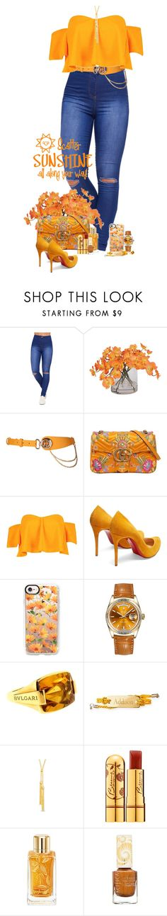 """""""Orange"""" by denisewood ❤ liked on Polyvore featuring WearAll, Ethan Allen, Gucci, Boohoo, Christian Louboutin, Casetify, Rolex, Bulgari, Mark & Graham and Bésame"""