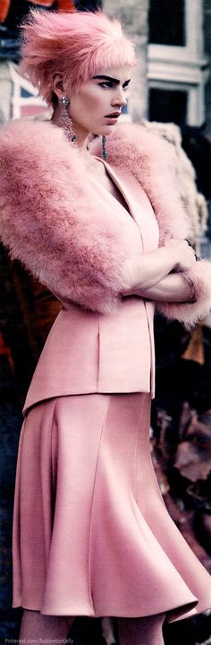 Armani Privé Haute Couture | F/W 2013 | W Magazine.  Pink fur Stoll.  Pink hair.  Heavy dark brows.  Editorial.